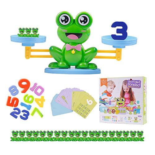 Colmanda Juguete Matemático de Equilibrio, 64 Piezas Juguete Balance Matemático Balanza Juguete Equilibrar Juego Ideal para Niños Aprender los Números (Rana)