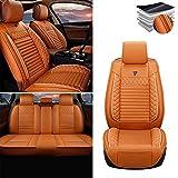 Tuqiang Funda de asiento de coche para Nissan Altima Frontier Note Rogue Versa Pathfinder Sentra Maxima, cuero de lujo impermeable, compatible con airbag, juego completo de normas naranja