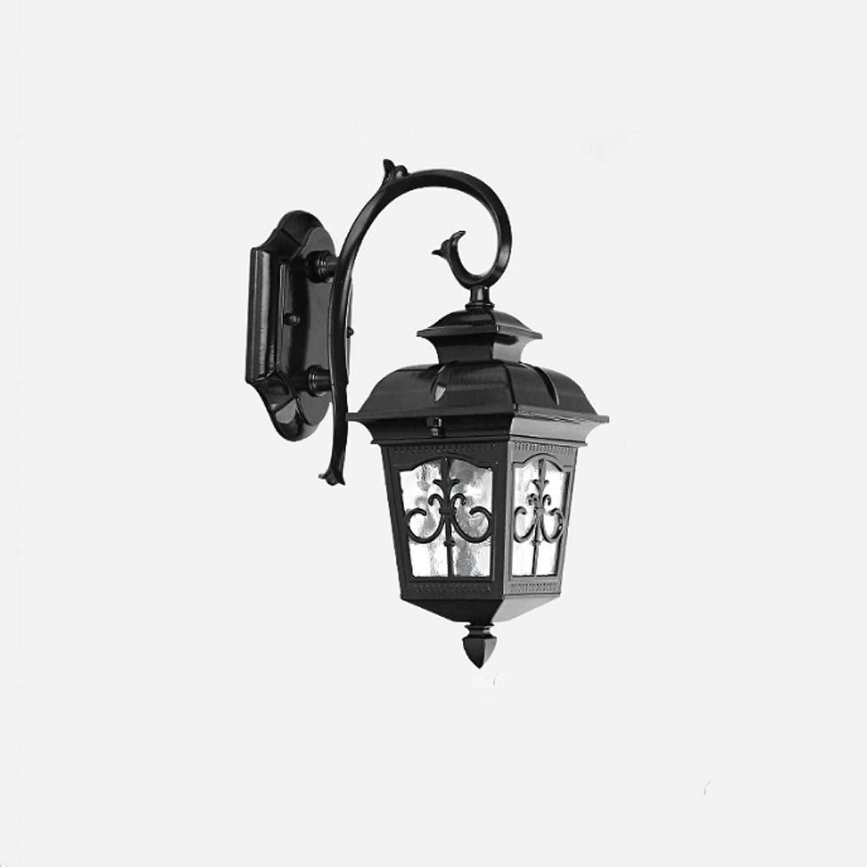NJ Wandlampe- Outdoor Aluminium Wandleuchte Garten Balkon Licht Auen Korridor Lampe Schlafzimmer Nachttischlampe American Led Retro Wandleuchte Wasserdichte Lampe (Farbe   Schwarz-23.5  40cm)