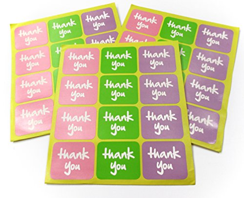 ALL in ONE 120pcs Square Pink Green Purple Thank You Adhesive Label Sticker for Packaging Seal Craft Tag Toppers (Square Color