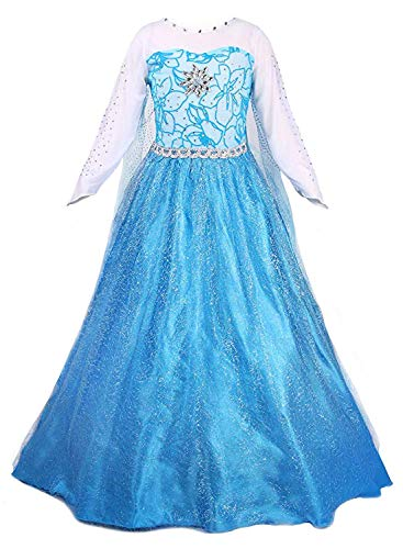 Eleasica Disfraz Nia Princesa Elsa Carnaval Halloween Fiesta de Disfraces Prenda Vestir Azul Largo para Nia Pequea Capa Manga Larga Color Degradado Estampado Floral Vestido de Chica de Moda Boda