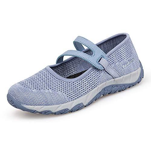 [Isyunen] レディース ナースシューズ スニーカー 厚底 ダイエットシューズ 安全靴 ナースシューズ 看護師 介護士 通気性 柔軟性 本革 通気 エアクッション付き お母さん 婦人靴 軽量 ライトブルー40