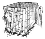GoGo Pet Products Double Door Black Epoxy Folding Wire Crate with Divider