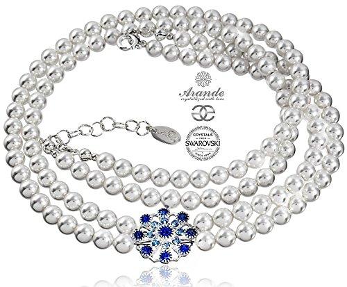 Wunderschöne Halskette mit weißen Perlen aus 925er Sterlingsilber, mit Zertifikat
