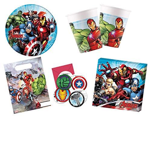 Procos 10115663 - Partyset M Mighty Avengers, 48-teiliges Set, 8 Teller, 8 Becher, 20 Servietten, 6 Tüten, 6 Einladungen, Einweggeschirr, Tischdekoration, Marvel