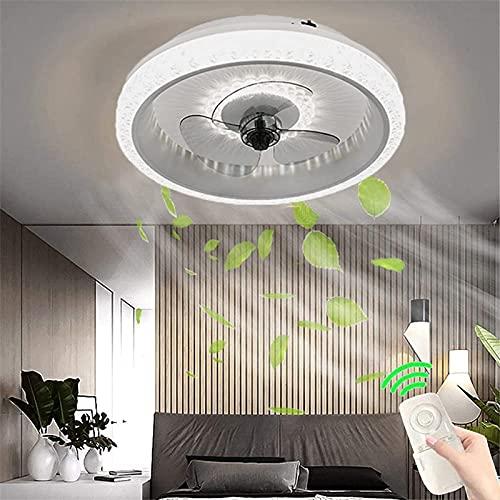 DINGFAN Ventiladores de Techo con Iluminación LED Ventilador Invisible Regulable Luz de Techo Silencioso con Control Remoto APP 80W Dormitorio Lámpara de Techo Ventilador Sala Estar (Color : Gray)