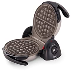 Professional-style rotating design with extra-thick grid bakes a 7-inch diameter Belgian waffle with four easy-to-cut sections Dual function base assures convenient rotation for baking and locks in a space-saving vertical position for storage Countdo...