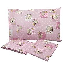 Mafalda - Sábana bajera para cuna con goma elástica para colchón de 30 x 70 cm – Tela estampada – Colores rosa/azul/verde fantasía oso – 100% algodón – Fabricado en Italia (rosa)