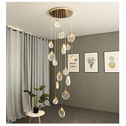 Azanaz 16 Lights - Lámpara colgante de cristal con 16 luces LED, altura ajustable, adecuada para el salón, el comedor, la escalera, el dormitorio o el techo