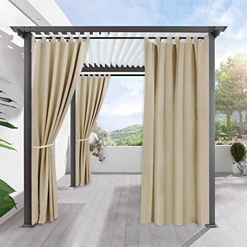 PONY DANCE Garten Schlaufenvorhang Blickdicht - Outdoor Gardinen Blickdicht Vorhänge für Pavillon/Pergola Thermo Gardinen Sonnenlicht Blockieren, 1 Stück H 243 x B 132 cm, Biscotti Beige