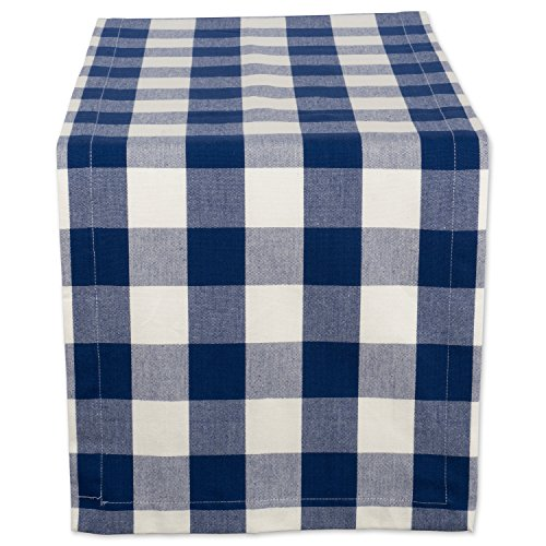 """DII Cotton Buffalo Check Table Runner for Family Dinners or Gatherings, Indoor or Outdoor Parties, & Everyday Use (14x72"""", Seats 4-6 People), Navy & Cream"""