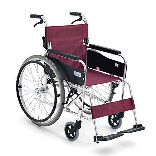 Y-L gehandicapten Ouderen Rolstoel Vouwen Lichtgewicht Kleine Ultra Licht Oude Man Reizen Gehandicapten Kruiwagen Rolstoel Rijden Medisch, Rood