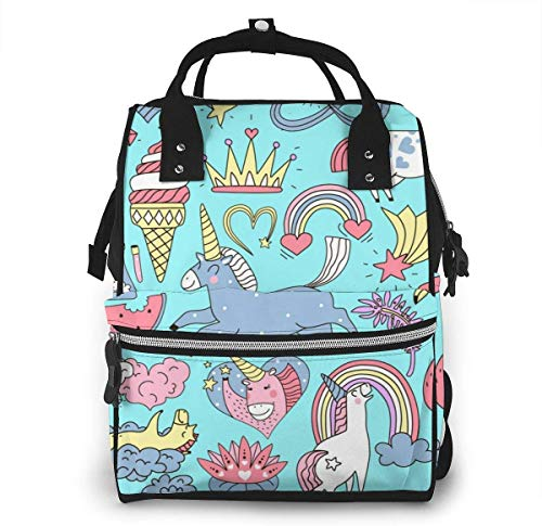 UUwant Sac à Dos à Couches pour Maman Large Capacity Diaper Backpack Travel Manager Baby Care Replacement Bag Nappy Bags Mummy BackpackUnicorn Fairy Elements Doodle Set Vector Image