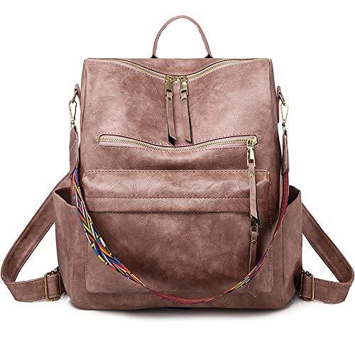 Fashion Women Rucksack Shoulder Bag PU Leather Backpack Travel Bag for Girls with Adjustable Shoulder Strap-Pink