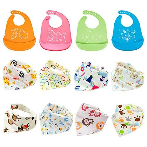 12pcs baberos de baba de pañuelo para bebés, baberos de goteo de algodón, baberos de silicona impermeables para bebés, toalla de saliva unisex, delantal para bebés y niños pequeños