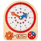 ROBUD Montessori - Reloj educativo de madera para niños, para aprender la hora