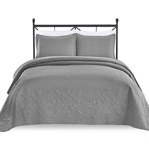 Luxe Bedding 3-Piece Oversized Quilted Bedspread Coverlet Set (King/Calking, Spring/Gray)