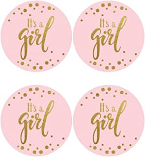 """2"""" Round 50 Pack Pink It's a Girl Label Stickers Baby Shower Party Sticker Labels Candy Stickers for Birthday Party Baby S..."""