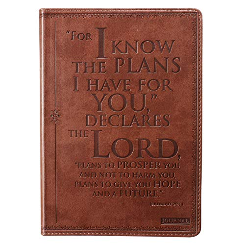 Christian Art Gifts Brown Faux Leather Journal | I Know The Plans Jeremiah 29:11 Bible Verse | Flexcover Inspirational Notebook w/Ribbon Marker and Lined Pages, 6 x 8.5 Inches