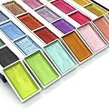 SJYM 24 Colores semiseco Brillo metálico Caja de Pintura de Acuarela Set Artista Acuarela Pigmento Perla para Suministros de Dibujo