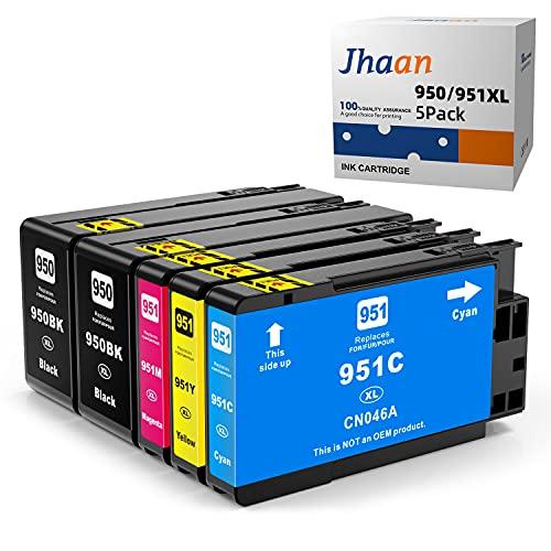 Jhaan Cartucho de tinta compatible para HP 950 951 950XL 951XL a HP Officejet Pro 8600 8610 8620 8630 8640 8100 8625 8615 251dw 271dw 276dw (2negro, 1 cian, 1) Magenta, 1 Amarillo )