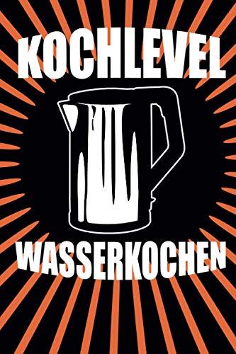 Kochlevel Wasserkoch: schwarzes orangenes gestreiftes Notizbuch Rezeptebuch Kochmütze Hobby Koch kochen Leeres Notizbuch Tagebuch Rezeptebuch DIN A5 120 punktiert-linierte Seiten