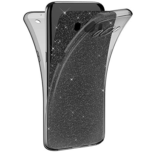 EUWLY Silicone Gel 360 Protection Intégral Glitter Etui Bling Paillette Housse Souple TPU Full Protection Cover Ultra Mince Flex Soft Skin Extra Slim Case Galaxy J5 2016 + Stylo,Noir
