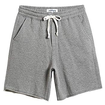 CALOLEYNG Mens Cotton 8  Long Casual Lounge Fleece Shorts Pockets Jogger Athletic Workout Gym Sweat Shorts Lightgrey
