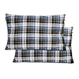 REDCAMP Small Camping Pillow Lightweight and Compressible, Flannel Travel Pillow with Removable Pillow Cover, 2 Pack