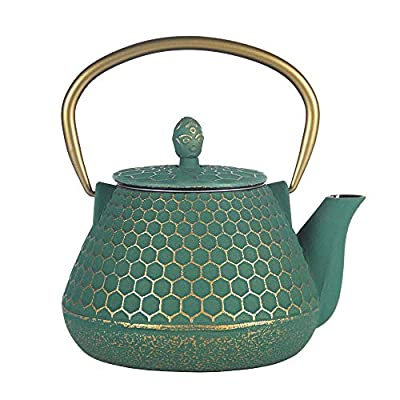 Cast Iron Tea Kettle, Japanese Tetsubin Teapot Coated with Enameled Interior, Durable Cast Iron Teapot with Stainless Steel Infuser (Dark Green Hexagon Pattern, 1000ml/34oz)