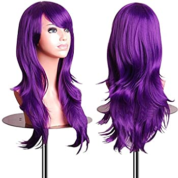 EmaxDesign Wigs 28 Inch Cosplay Wig For Women With Wig Cap and Comb  Dark Purple