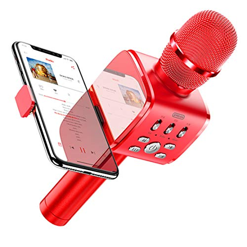 xiaohuozi Potente Micrófono de Condensador Micrófono Inalámbrico Bluetooth con Soporte para Teléfono Adecuado para Live Performance Singing Gaming,Red