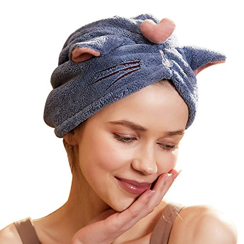 Turbante de Secado Rápido para Mujer Gorra de sombrero de toalla de pelo de microfibra para las mujeres turbantes de cabeza anti-frizz seco rápida para cabello largo, súper absorbente suave Toalla de
