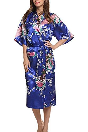 Dolamen Damen Morgenmantel Kimono, Glatte Satin Nachtwäsche Bademantel Robe mit Peacock und Blume Kimono Negligee Seidenrobe locker Schlafanzug, Langer Stil (XXX-Large, Dunkelblau)
