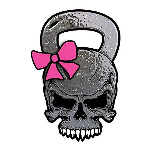 Sticker-Designs 8cm! Klebe-Folie Wetterfest Made-IN-Germany Skelett Baracuda Totenkopf Skull Kettlebell Cross-Kreuz Fitness Gym Pink Z359 UV&Waschanlagenfest Auto-Aufkleber Profi-Qualität!