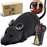 Aerbee Remote Control Rat Toy, Electronic RC Mouse Toy Emulation Flocking Rat Toy Interactive Cat Toys Pet Toys for Cat Dog Kid
