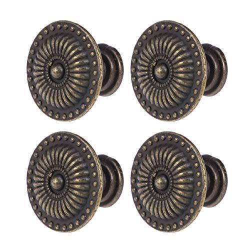 EXCEART 4Pcs Bouton Vintage Commode Tire Bronze Rond Bijoux Pull (Bronze)