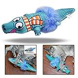 OFKPO Multifunzione Giocattolo di tela coccodrillo Giochi al Catnip, Cuscino di Cotone a Forma di Coccodrillo Cuscino per Gatti(blu)