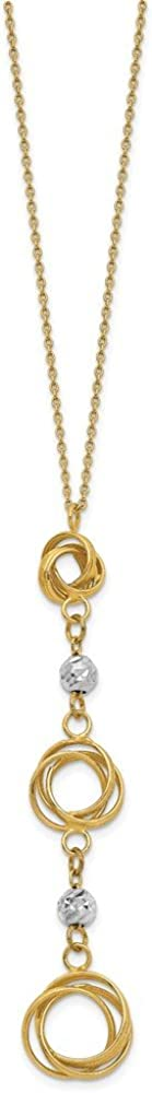 14k Two-tone Graduated Love Knots with Diamond-cut Beads Y-, 18 Inch Length Necklace
