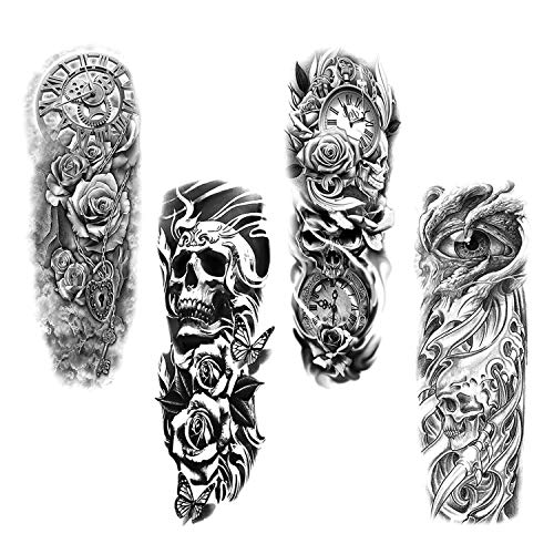 Full Arm temporäre Tattoos, Konsait extra temporär Tätowierung schwarz Klebe Tattoo Körperkunst Aufkleber Fake Arm Tattoos Sticker für männer Frauen (4 Blätter)