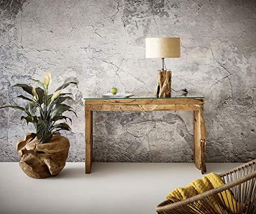 DELIFE Konsolentisch Ramiro Teakholz Natur 120x40 cm mit Glasplatte