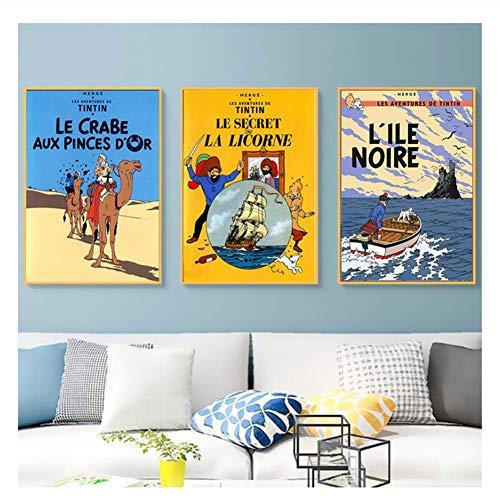 XuFan Camel Desert Tintin Adventure Comics Cartoon Retro Vintage Classic Poster Canvas Painting Art Wall Home Decor Gift-50x70cmX3 Sin Marco