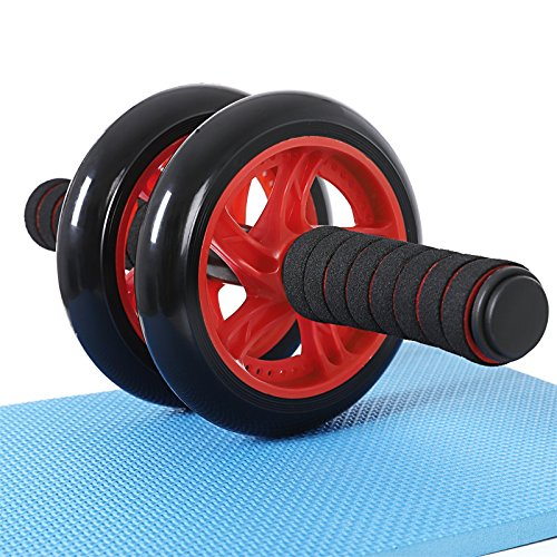 SONGMICS AB Roller AB Wheel Red Foam Handles With Comfortable Non-Slip Extra Thick Knee Pad Mat SPU75R