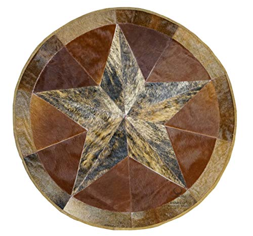 RODEO Texas Star Patch Work Cowhide Rug with linging Diameter 40 in (Burbon)