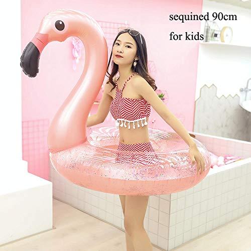 hmmsw Schwimmring Aufblasbare Flamingo Float Schwimmring Pailletten Rose Gold Einhorn Pool Float Kindersitz Luft Matratze Wasserspielzeug-90 Pailletten