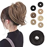 BARSDAR Hair Bun Ponytail Extension, Straight Synthetic Hairpiece Fully Short Ponytail Bun Extensions Hair Accessories Elastic Easy Scrunchie for Women (Dark Brown)