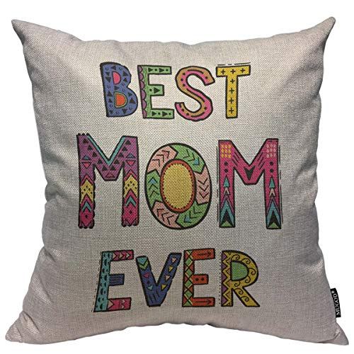 Mugod Throw Pillow Cover Mother's Day Greeting Card Best Mom Ever Greeting Inscription Home Decorative Square Pillow Case for Bedroom Living Room Cushion Cover 18x18 Inch