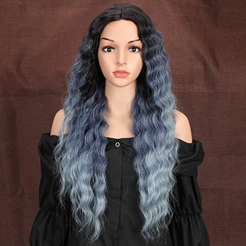 Style Icon perruques Lace Wigs Synthetiques 71cm Longue Perruque Ondulée Naturelle Couleur Ombre Bleue Violette Perruque Pour Femmes Fibres Résistante
