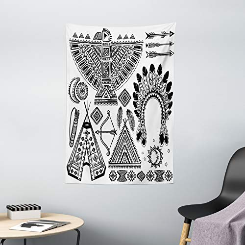 "Ambesonne Tribal Tapestry, Feather Head Band Teepee Tent Bow and Arrow Art Print, Wall Hanging for Bedroom Living Room Dorm Decor, 40"" X 60"", White and Black"