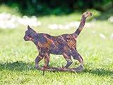 Dekoleidenschaft Gartensticker Schimmer Katze aus Metall, mit Patina